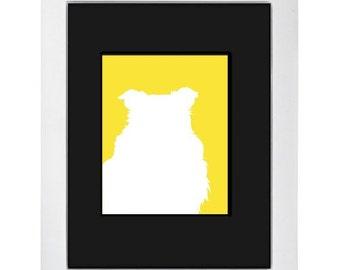 Yellow Sheltie Silhouette Modern Dog Art Print 8x10