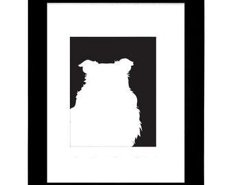 Sheltie Silhouette Modern Dog Art Print 8x10