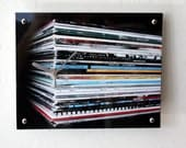 Mens Retro Wall Clock :  Vinyl Record Stack (New Order, Cure, Depeche Mode, Smiths, Slowdive)