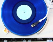 Modern Wall Art - Retro Blue Vinyl Record Photography / Coffee Table Art