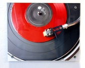 Giant Coaster and Urban Wall Art - Retro Red Vinyl Record Photography