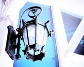 Retro Photography Fine Art Print : Blue Iron Lamp 12x18