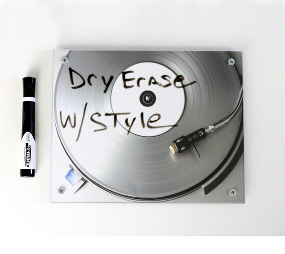 Dry Erase Board Art . Record Player Silver Ice White Board  DJ Art