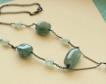 SALE -Lake Necklace - Aquamarine Large Nuggets, Chalcedony Drusy, Oxidized Sterling Silver