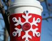 Snowflake Coffee Cozy - Red