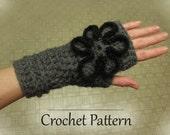 PDF Crochet Pattern - Fingerless Gloves with Flower