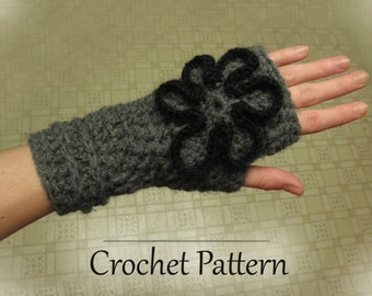 PDF Crochet Pattern - Fingerless Gloves with Flower