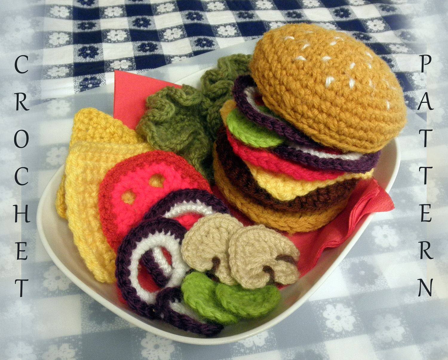 Amigurumi Fast Food : Hamburger Play Food PDF Crochet Pattern