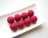 8 round raspberry felted wool beads