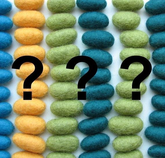Secret grab bag of 10 wool beads and pebbles