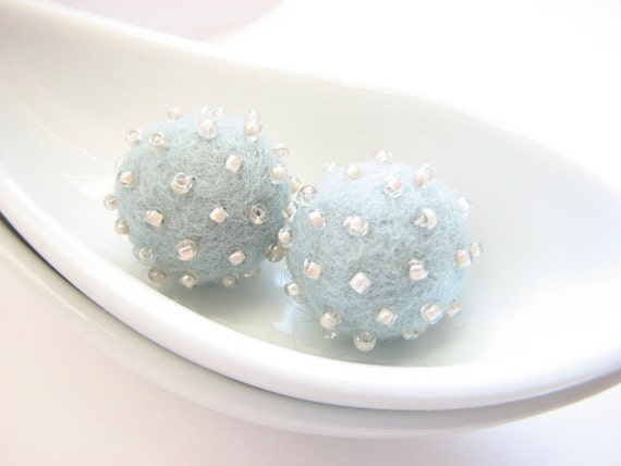 Set of 2 light sky blue round wool beads decorated with seed beads