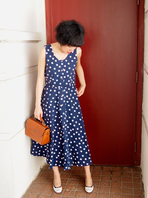 SALE - vintage summer cocktail dress blue polka dot feminine cotton