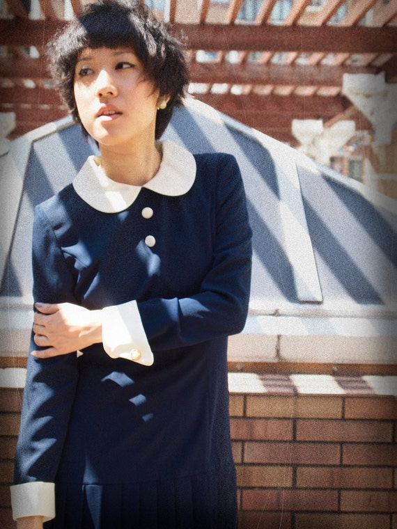peter pan collar office fashion navy pleated dress long sleeves - RESERVED FOR SANDY