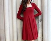 Sale-  Little Flared Dress- Shown in Venetian Red, sizes xs, s, m,l, xl, 1x, 2x, 3x