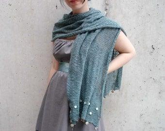 Ocean blue beaded cotton linen shawl - teal scarf - beach wedding shawl - wrap - stole - knit shawl - lace scarf - spring summer accessories