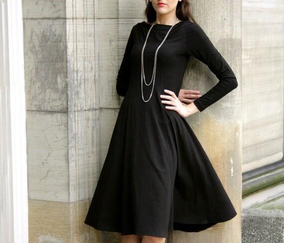 Elegant Cowl Dress- black dress shown, sizes xs, s, m,l, xl, 1x, 2x, 3x