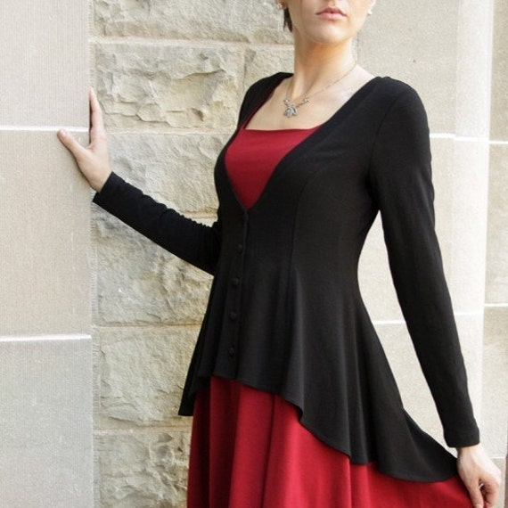 Romantic Flared Cardigan-  black cardigan shown, sizes xs, s, m,l, xl, 1x, 2x, 3x