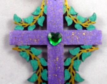 Wooden Cross Christmas Ornament 122