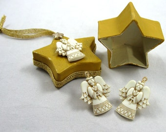 Angel Earrings with Star  Box Ornament 101
