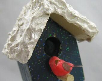 Blue Birdhouse Christmas Ornament 301
