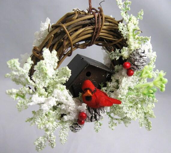 Cardinal and Birdhouse Ornament 192