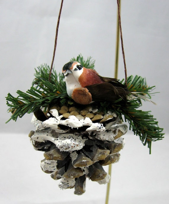 pine cone with bird christmas ornament 103. Black Bedroom Furniture Sets. Home Design Ideas
