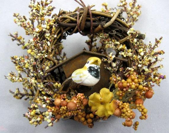 Bird and Rustic Birdhouse Christmas Ornament  221