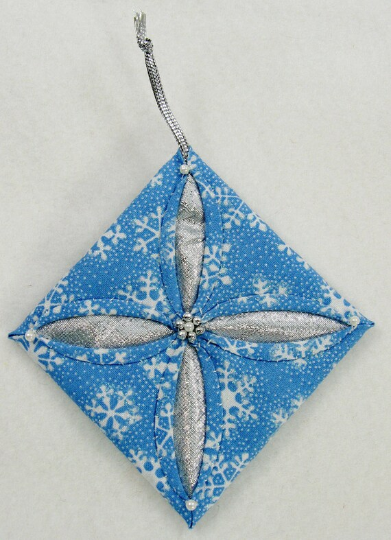 Blue, White and Silver Cathedral Window Quilted Christmas Ornament  520