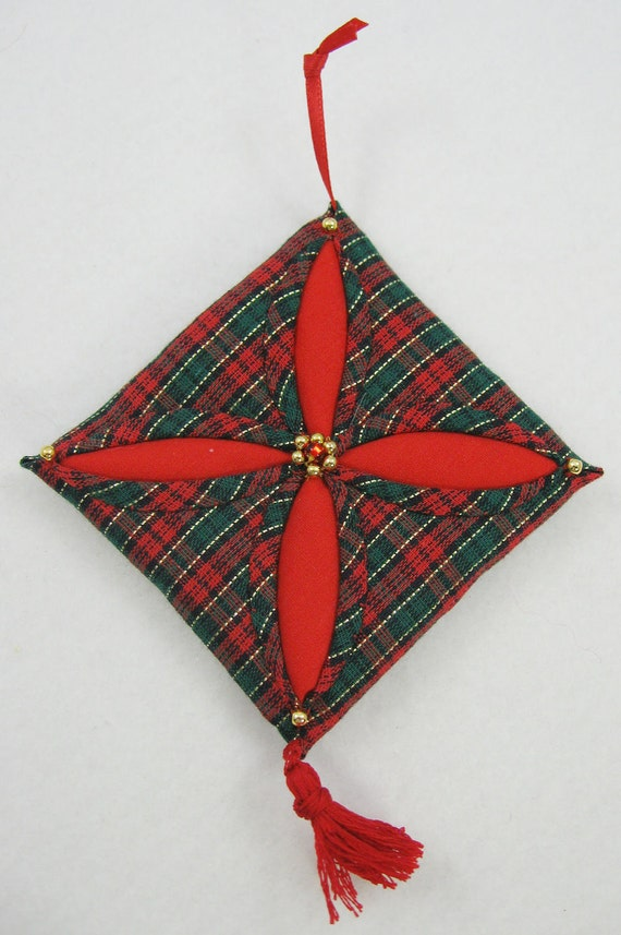 Quilted Christmas Ornament - Red, Green and Gold Plaid Cathedral Window 546