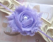 Baby Headband with Lilac Shabby Chic Flower