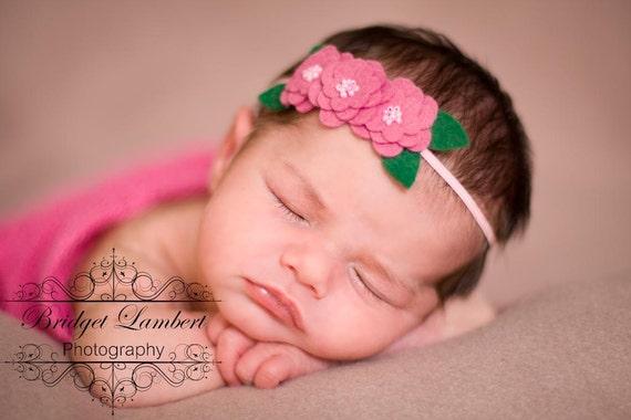 Baby Headband with Three Adorable Felt Blossoms