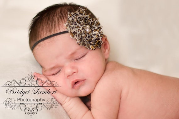 Baby Headband with Shabby Chic Leopard Print Flower