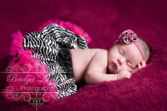 Baby Headband with Zebra Print Satin and Hot Pink Mesh Puff