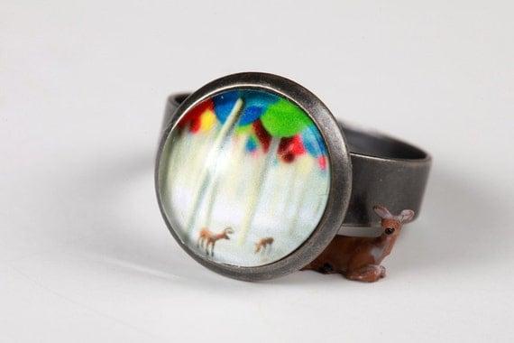 Simple Adjustable Ring in Antiqued Silver Gunmetal - Lollipop Forest