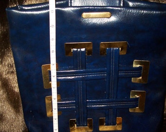 Atomic Blue  Purse  Handbag  ~ Gold Tone -Thick Top Handle  Bag Women's Vintage Purse