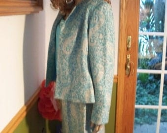 Womens Suit Pastel/Paisley 3 Piece Outfit Formal Women's Vintage  Outfit