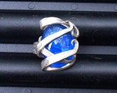 Silver Fork Ring Blue size 8 1\/2