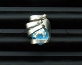 Silver Fork Ring Iridescent Blue size 9 1\/2