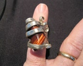 Red Tiger Eye Silver Fork Fancy Ring size 7 1/2 to 10
