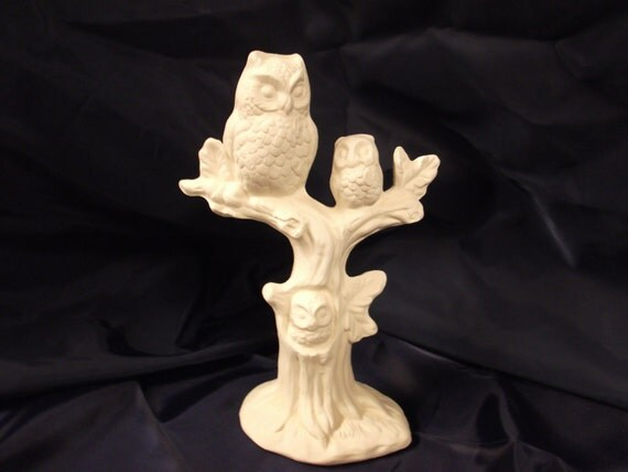 Ready-To-Paint Ceramic Bisque Owls in Tree