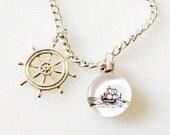 Charm Bracelet Nautical Sailing the High Seas Sailboat