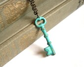 Mint Green Verdigris Hand Aged Raw Brass Skeleton Key Necklace