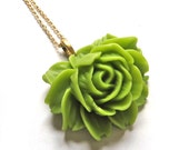 ON SALE Lime Green Resin Rose 22K Gold Extra Long Layering Necklace