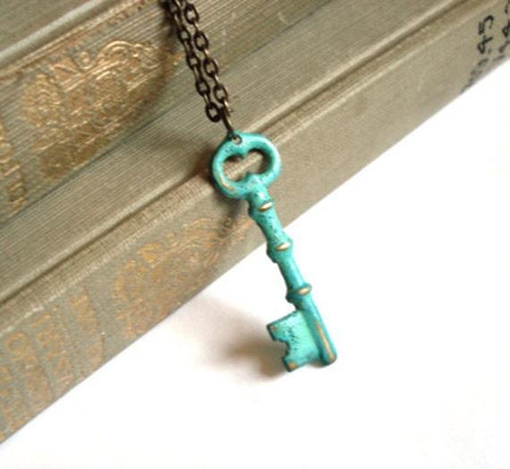 Mint Green Verdigris Hand Aged Raw Brass Skeleton Key Necklace