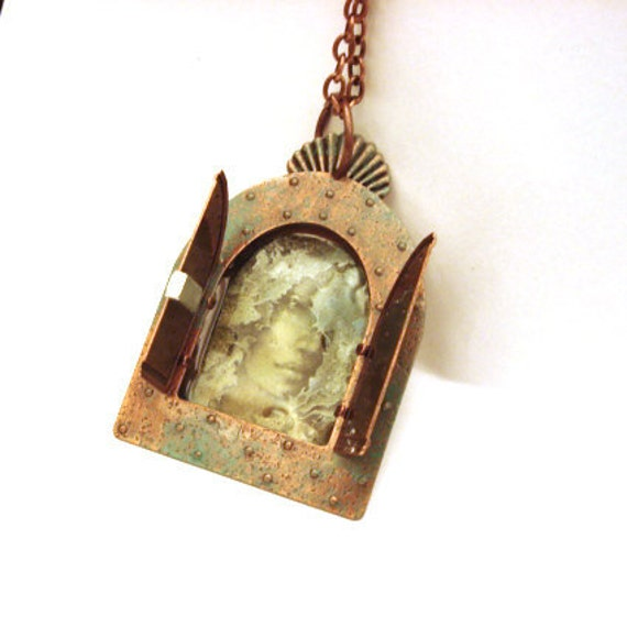 Mexican Tin Nicho Inspired Goddess Copper Locket
