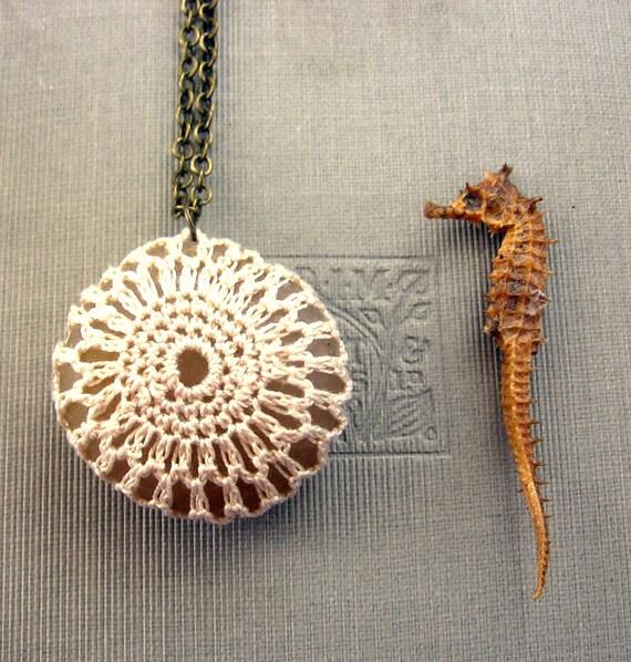 Seaside Wedding Crochet Beach Stone Necklace in Cream Lace Luxe Pebble Pendant
