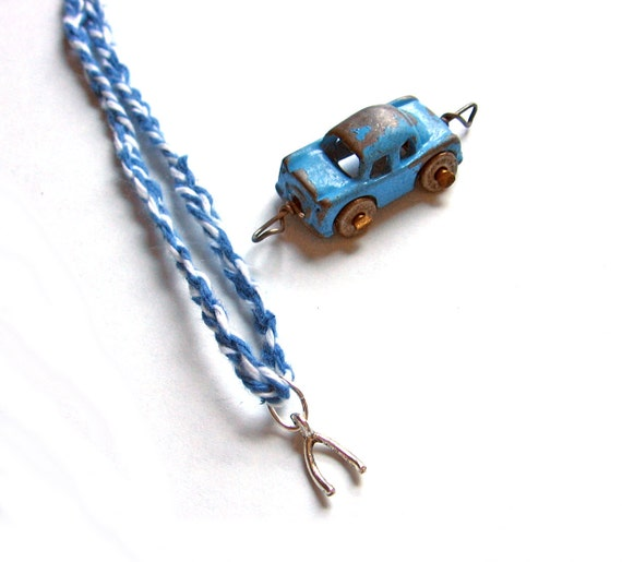 Wishbone Necklace Make a Wish Pendant Denim Blue Twine