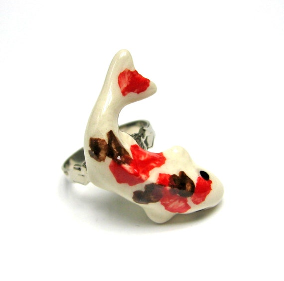 Ceramic japanese koi fish ring red brown and white adjustable for Koi fish ring