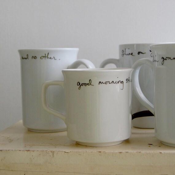 Custom wedding mug favor set - SEVEN