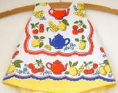 Baby / Pinafore / Handmade / Dress - Sunny Tea Time Tea Towel Pinafore